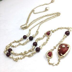 Kendra Scott red Jasper CZ  gold Y necklace NWOT